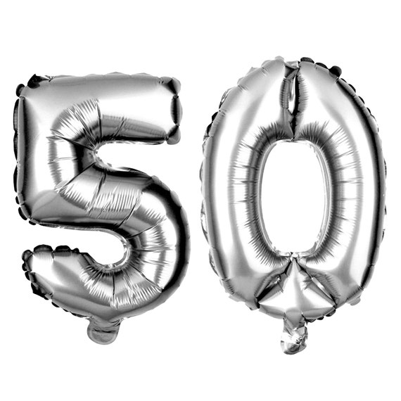 50 Number Balloons 50th Birthday Party Balloons 50 Balloon Numbers