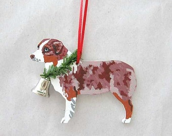 Hand-Painted AUSTRALIAN SHEPHERD Red Merle Wood Christmas Ornament...Artist Original, Christmas Tree Ornament Decoration