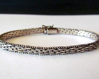 Vintage Sterling Silver Textured Bracelet made in Italy