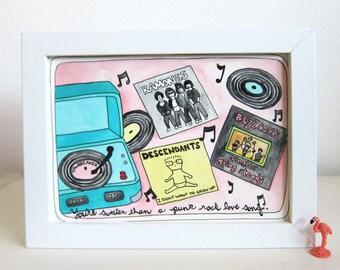 Art - Illustration - Original Art - Original Illustration - Punk Rock - Vinyl - Records - Sweeter than a Punk Rock Love Song