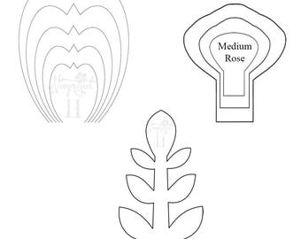 set of 2 flower templates and 1 leaf template giant paper flower template - Leaf Templates
