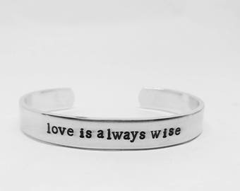 Love is always wise: hand stamped Peter Capaldi Doctor Who-inspired handstamped whovian aluminum cuff bracelet