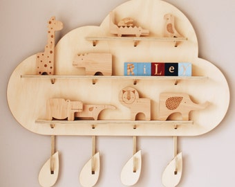My Treasure Board - The Rainy Cloud - kids decor shelves - Wall hanging - Plywood design - Australian Made - By One Two Tree