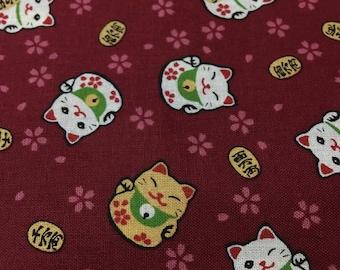Half Yard-Fortune Cat / maneki-neko -maroon red Background-100% cotton-Kimono/ yukata fabric-Made in Japan