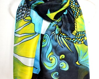"Dragons And Castle Silk Scarf, Hand Painted Silk Scarf, Lime Green Turquoise Gray Black, 71"" Long Scarf, Fantasy Silk Scarf, Gift For Her"