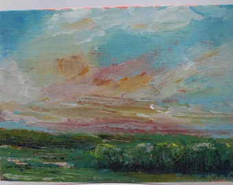 Original oil painting, small landscape, sunrise sunset, flat canvas, clouds, farmhouse decor, wall art home,