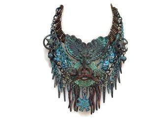 SEA CHANTY verdigris patina bronze steampunk biker statement bib necklace