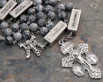 Gemstone Rosary of Gray Crazy Lace Agate with Mystery Beads, Catholic Rosary, Miraculous Medal, Pardon Crucifix, 5 Decade Rosary