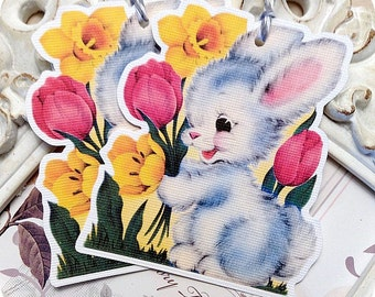 Baby Bunny Gift Tags (6) Bunny Tags-Easter Favor Tags-Easter Treat Tags-Easter Gift Tags-Tags for Kids-Shabby Easter Tag-Spring Gift Tag