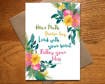Every Day Spirit / Watercolor Encouragement Cards / Floral Graduation Card / Beautiful Celebration Card / Pretty Dream Big Card / 5x7