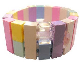 Kawaii Pastel bracelet - made from LEGO (R) bricks on stretchy cords - Fairy Kei - Sweet Lolita