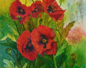Flower paintings floral watercolor poppies original floral watercolor painting watercolor painting original fine art painting poppy painting