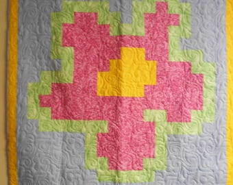 "Lap Quilt, Throw Quilt, Large Flower Lap Quilt, Handmade Flower Lap Quilt, 48"" x 54"""