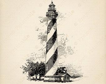 Instant Digital Download Printable - Vintage LIGHTHOUSE illustration - Bathroom Clip Art SEA BEACH Graphics - iron on Fabric Transfer Image