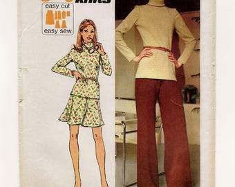 """A Long Sleeve, Roll Collar Tunic Top, Flared Elastic Waist Skirt and Wide Leg Pants Pattern for Women: Size 8 Bust 31-1/2"""" • Simplicity 5841"""