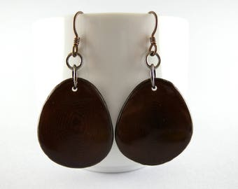 Dark Chocolate Brown Tagua Nut Eco Friendly Yoga Accessories Earrings with Free USA Shipping #taguanut #ecofriendlyjewelry