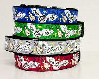 "Harry Potter Dog Collar, 1"" Wide Dog Collar, Hogwarts , Wizard, Wizardry, Owl, Wizard, Gryffindor,"