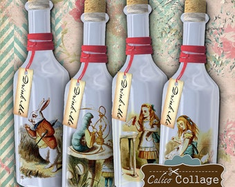 Alice in Wonderland, Collage Sheet, Drink Me Bottles, Bottled Alice, Digital Tags, Digital Images, Journal Tags, Printable Tags