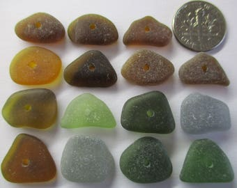 GENUINE SEA GLASS 16mm Beads 15 Center Drilled Flawless Olive Green Brown Amber Grey Surf Tumbled Natural Beach Seaglass Jewelry Bead  C 385