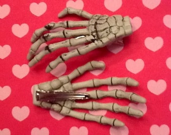 Pastel Goth Skeleton Hands Bone Hair Clips Set