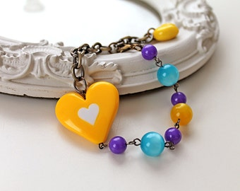 Harajuku yellow heart bracelet aqua blue purple