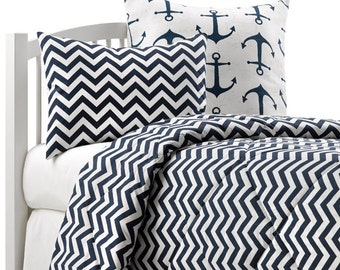 Navy Chevron Twin Bedding Set