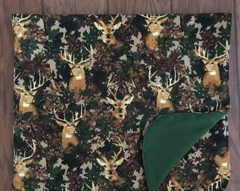 Deer and Camo Flannel Baby Blanket, Camo Baby Blanket/Deer Baby Blanket/Camo Flannel Blanket/Baby Boy Blanket/Woodsy Blanket