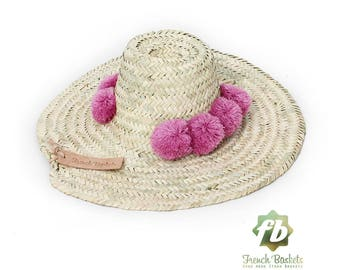 Straw Hats pompom raspberry : French Basket straw Hats  straw hat men  straw hat women  sun hat  beach hat straw hat straw hat hat pom pom
