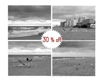 Coastal photography, black and white Virginia Beach print set set of 4 beach pictures, 11x14, 8x10 photos nautical wall art, seashore decor