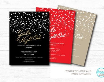 Custom Color Option - Snow Themed Black and Gold Glitter, Red or Natural colored Holiday Party/Girls Night Out Invitation