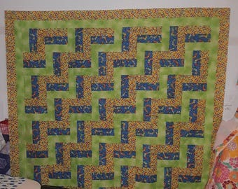 Beautiful new rail fence quilt TOP in green,yellow and blue with colorful worms and insects.