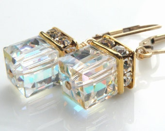 Clear Crystal Earrings, Drop Swarovski Cube, Gold Filled, Modern Wedding, Bridal Party, Bridesmaid Gift, Handmade Jewelry