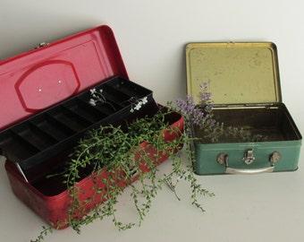 urban farmhouse - 2 Vintage red-green metal boxes - 2 Boxes -  home decor
