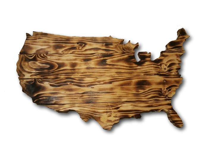 Wooden USA Sign, Reclaimed Wood, Handmade, United States Wood Sign, Burned Wood Sign