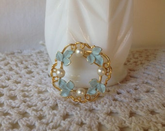 Faux Pearl Pin Blue Enamel Circle Pin Brooch