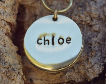 Hand stamped dog tag, 7/8 inch brass pet tag, brass cat ID tag, polished dog ID tag, small dog tag, cat tag, brass pet tag, tag silencer