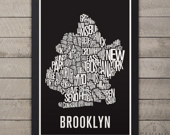 BROOKLYN New York Neighborhood Typography City Map Print