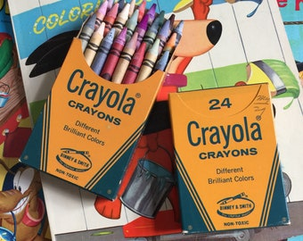 Vintage Crayola Crayon 24 Count Boxed Set UNUSED, Two Boxes Available