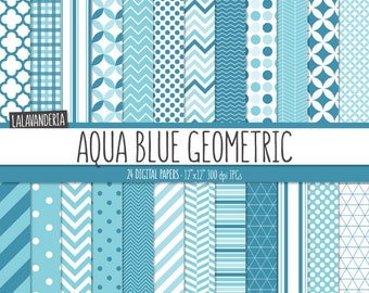 Geometric Digital Paper Pack. Aqua Blue Backgrounds. Printable Papers Set. Blue Geometrical Patterns. Digital Scrapbook. Instant Download