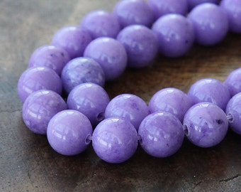 Mountain Jade Beads, Lavender, 8mm Round - 15 Inch Strand eMJR-M24-8