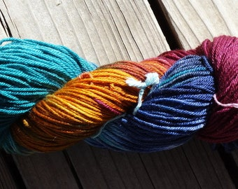 Tuscan Vineyard DK 75/25 15 micron Ultrafine SW Merino/Mulberry Silk Handpainted Yarn 100 Grams, 246 yards, 4 ply Burgundy Teal Navy Gold