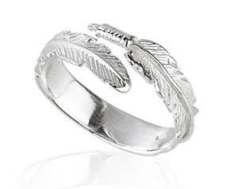 925 solid Sterling Silver Angel Feather Wing  Ring