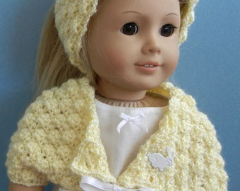 Doll clothes for 18-inch child doll - Sweater of the Month - April shrug with headband