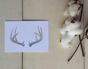Watercolor Antler Print