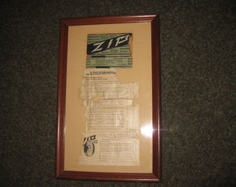 """ANTIQUE ADVERTISING Zip Hair Remover 1920's Framed Ad 9"""" x 14 3/4"""" Was Professionally Framed"""