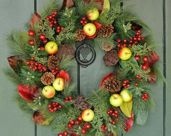 Williamsburg Welcome ~ Traditional Fruit and Pine Wreath, Winter Wreath, Christmas Wreath, Holiday Decor, Christmas, Winter, Fruit Wreath