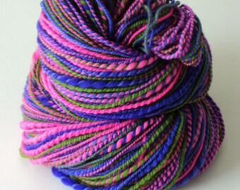 Tulips, Hand Spun, Handspun, Hand dyed, Worsted, Yarn, Pink, Purple, Green