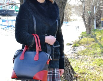 BLUE LEATHER BAG, Leather Tote Bag, Leather Shoulder Bag, Large Leather Bag, Womens Leather Bag, Woman Leather Tote, Laptop Leather Bag
