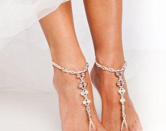 Vintage Rose Beaded barefoot sandals, Bridal foot jewelry, Pearl Crystal Beach wedding Barefoot Sandals, Wedding accessory, Footless sandals