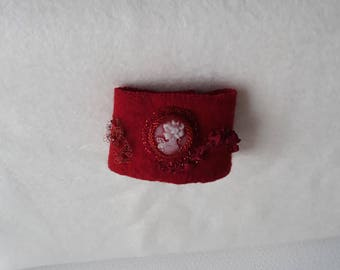 Red felt with beads and silk cameo Cuff Bracelet